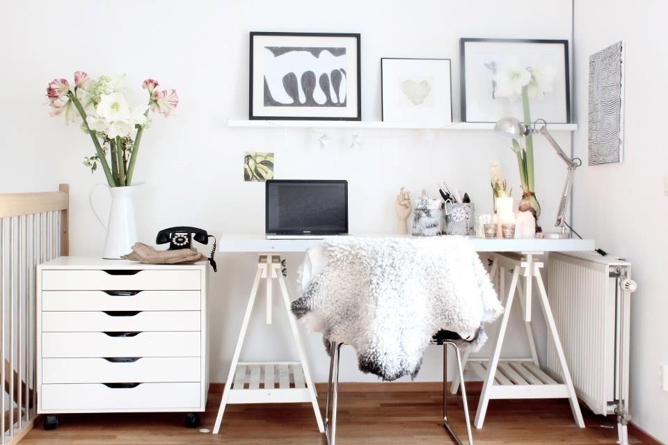 Espace bureau blanc ikea très floral espace bureau