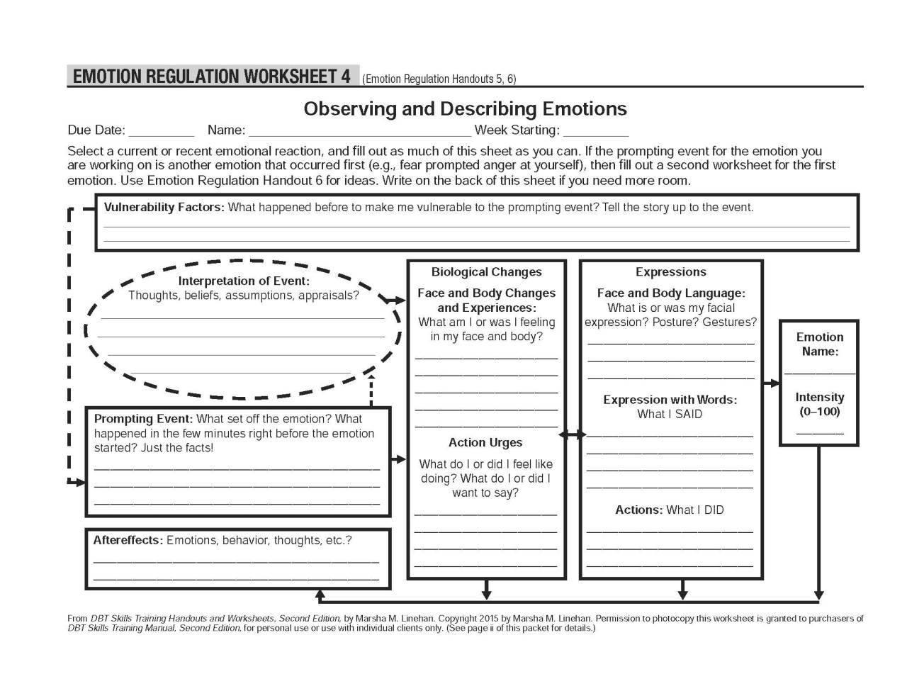 Worksheets Emotional Regulation Worksheets healing schemas dbt self help resources observing and describing emotions these worksheets accompany the emotion regulation handout 6 also look a