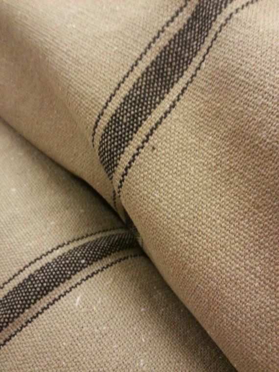 Reproduction Vintage French Grain Sack Fabric By The Yard Tan W 3 Black Stripes