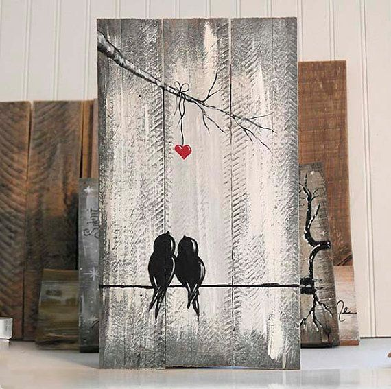Reclaimed wood art 5th anniversary gift love bird painting for Mural on wood