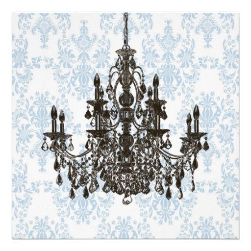 Blue damask chandelier wall art print