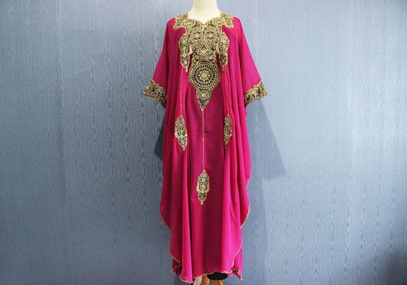 38dd42c072 Fancy Gold Kaftan Embroidery Plus Size Dress Wedding Spring Summer Party  Batwing Style, Pink Caftan Maxi Oversized Maternity Dress