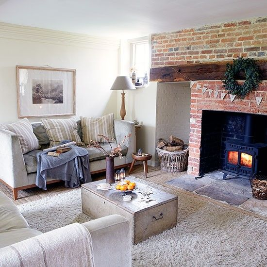 Country Living Room With Inglenook Fireplace Decorating Ideal Home Country Living Room Cosy Living Room Living Room Decor Country