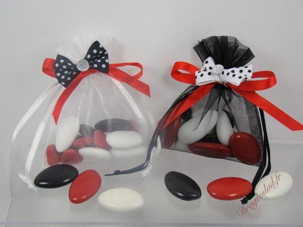 Sachet dragée blanc, noir et rouge noeud pois, Achat tulle dragées mariage pas cher \u2013 Dragéeslad.