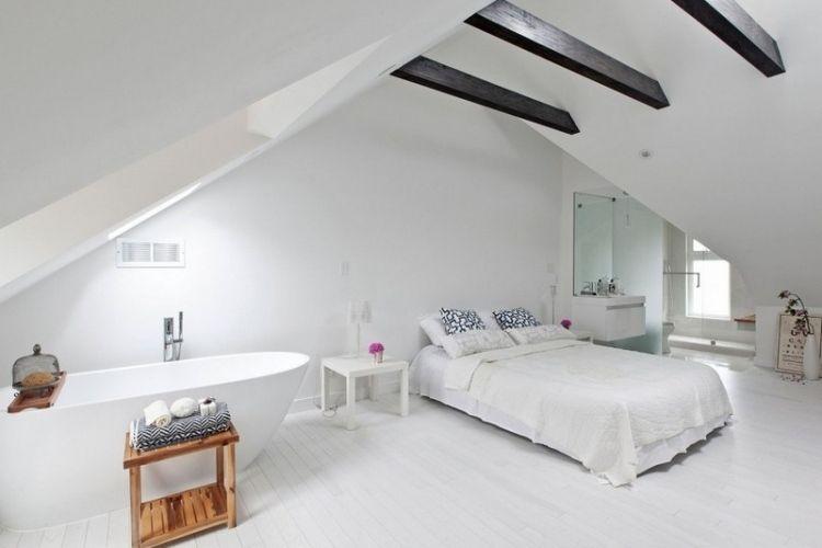 chambre adulte blanche 80 id es pour votre am nagement chambre pinterest table basse bois. Black Bedroom Furniture Sets. Home Design Ideas