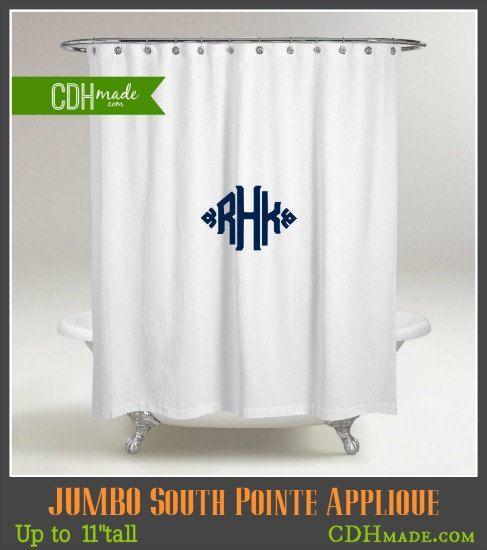 Monogrammed Shower Curtain - Jumbo South Pointe Applique Monogram ...