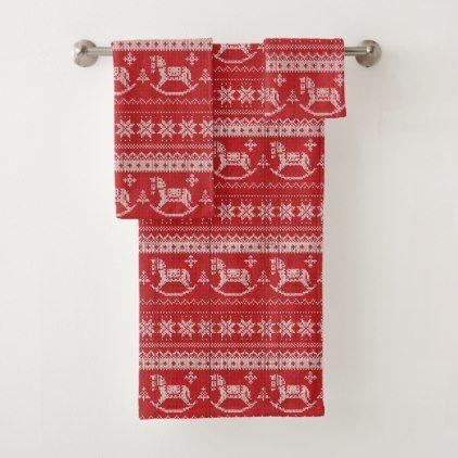 Red Nordic Style Rocking Horse Pattern Bath Towel Set | Zazzle.com #horsepattern