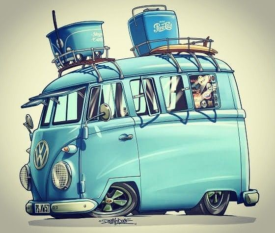 Cartoon VW Split Screen By DazzlaRock
