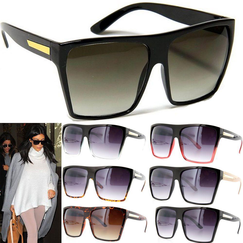 Women Mens Flat Top Celebrity Sunglasses Retro Vintage Square Shades Sun Glasses