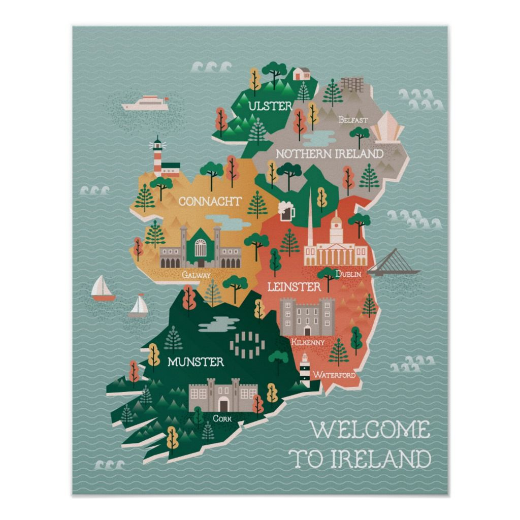 Travel Map Of Ireland Landmarks Cities Poster Zazzle Com