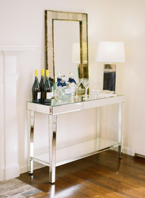 Mirrored Console Bar Table