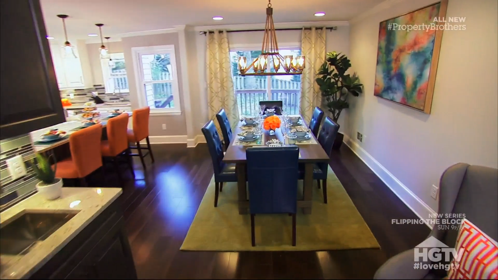 Property Brothers Aven Phillip LOVE This Dining Room Not So Much The Curtains And Definitely Light But Large Table Blue Chairs