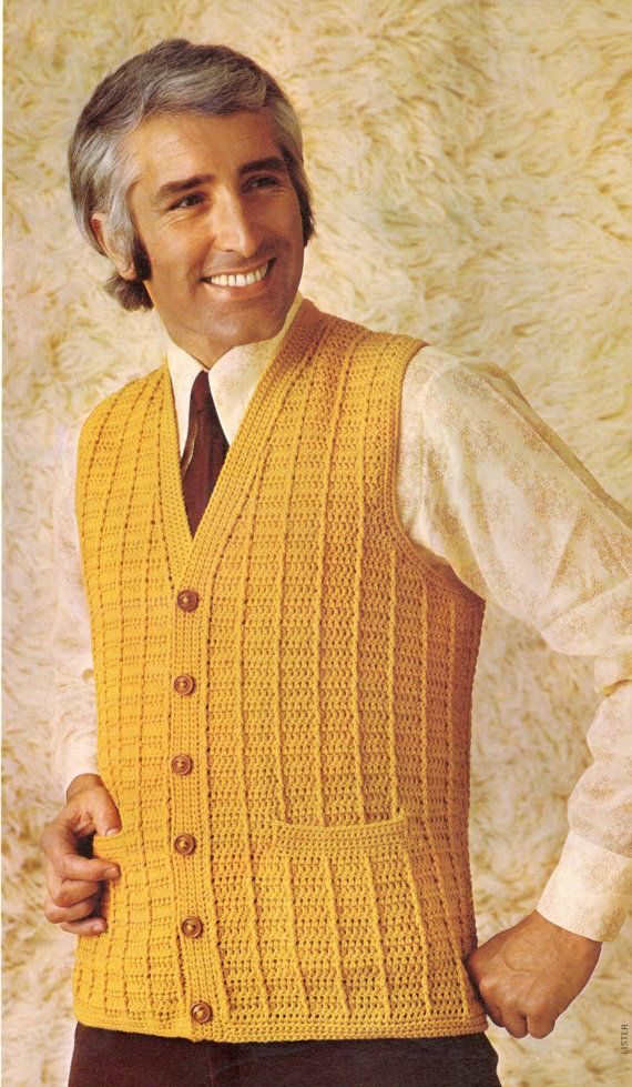Vintage Crochet Pattern Mens Mans Boys Buttoned Down V Neck Cable