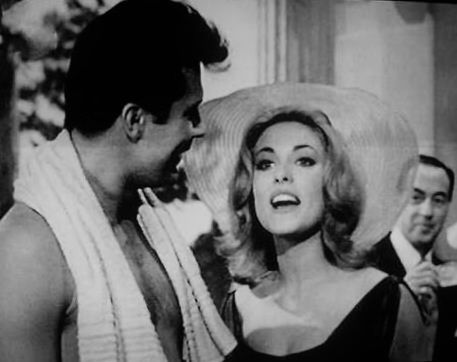 max baer jr and sharon tate on the set of the beverly. Black Bedroom Furniture Sets. Home Design Ideas