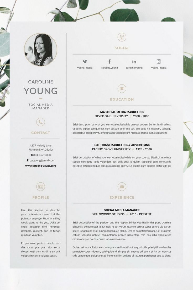 Caroline Resume/CV Template | Word | Photoshop | InDesign ...