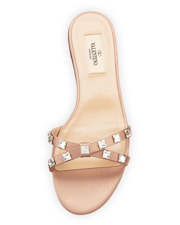 33f23dba456 Valentino Garavani Rockstud Glam Flat Crystal-Stud Satin Slide Sandal