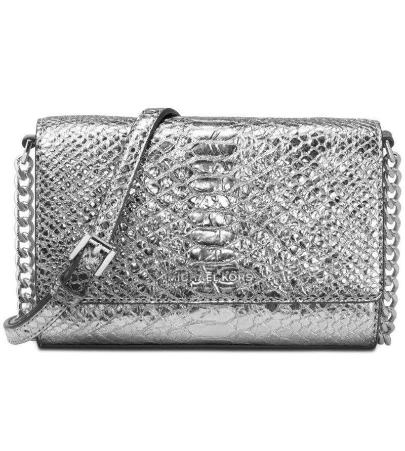 372d3efeb9a1 Michael Kors Ruby Medium Metallic Leather Clutch bag purse Pewter crossbody  NWT #MichaelKors