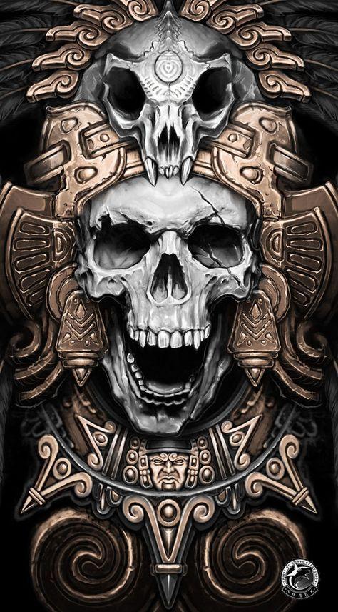 Calavera Calaveras Arte Del Cráneo Arte Azteca Y Calaveras