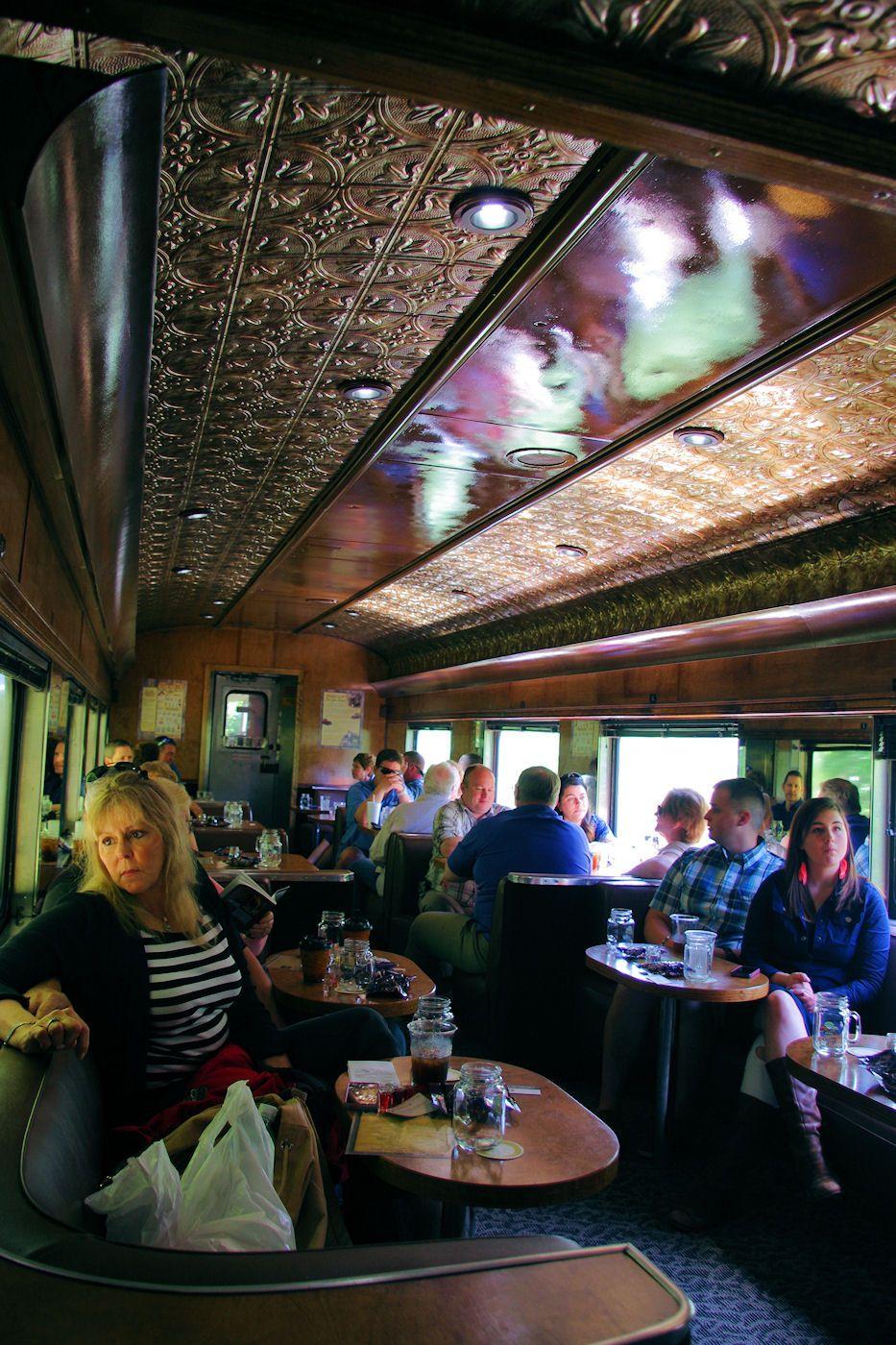 Restored Carolina Moonshine car on the Great Smoky Mountains Railroad train excursion
