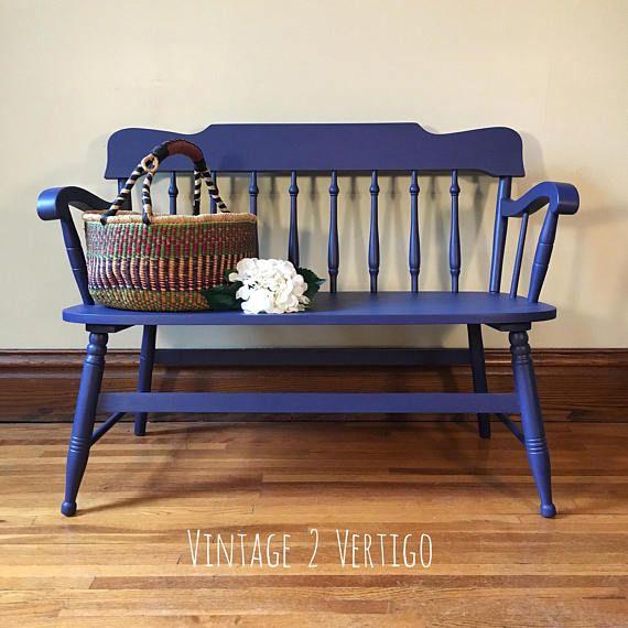 Pleasant Deep Blue Bench Hallway Seat Entryway Navy Painted Hand Creativecarmelina Interior Chair Design Creativecarmelinacom