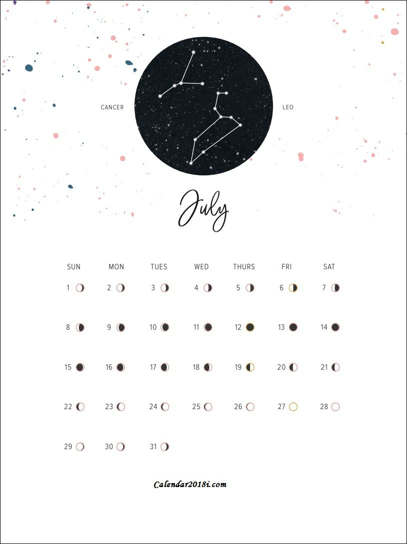 Moon Phases July 2018 Calendar Moon Calendar Calendar Wallpaper