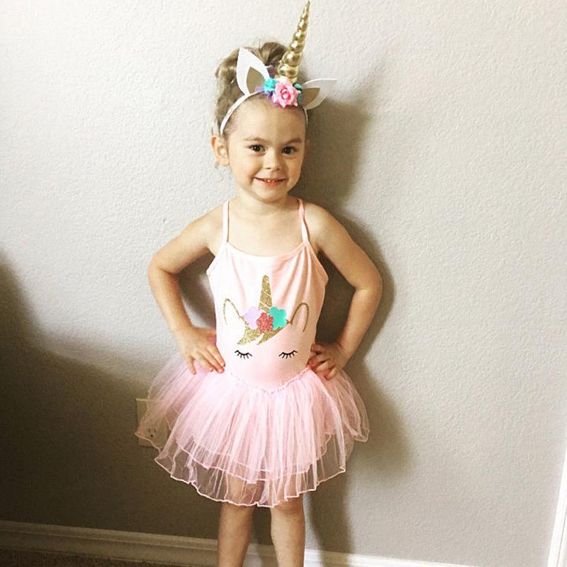 Kids Baby Girls Dress Unicorn Princess Tulle Tutu Party Dress Summer Skirts Cute