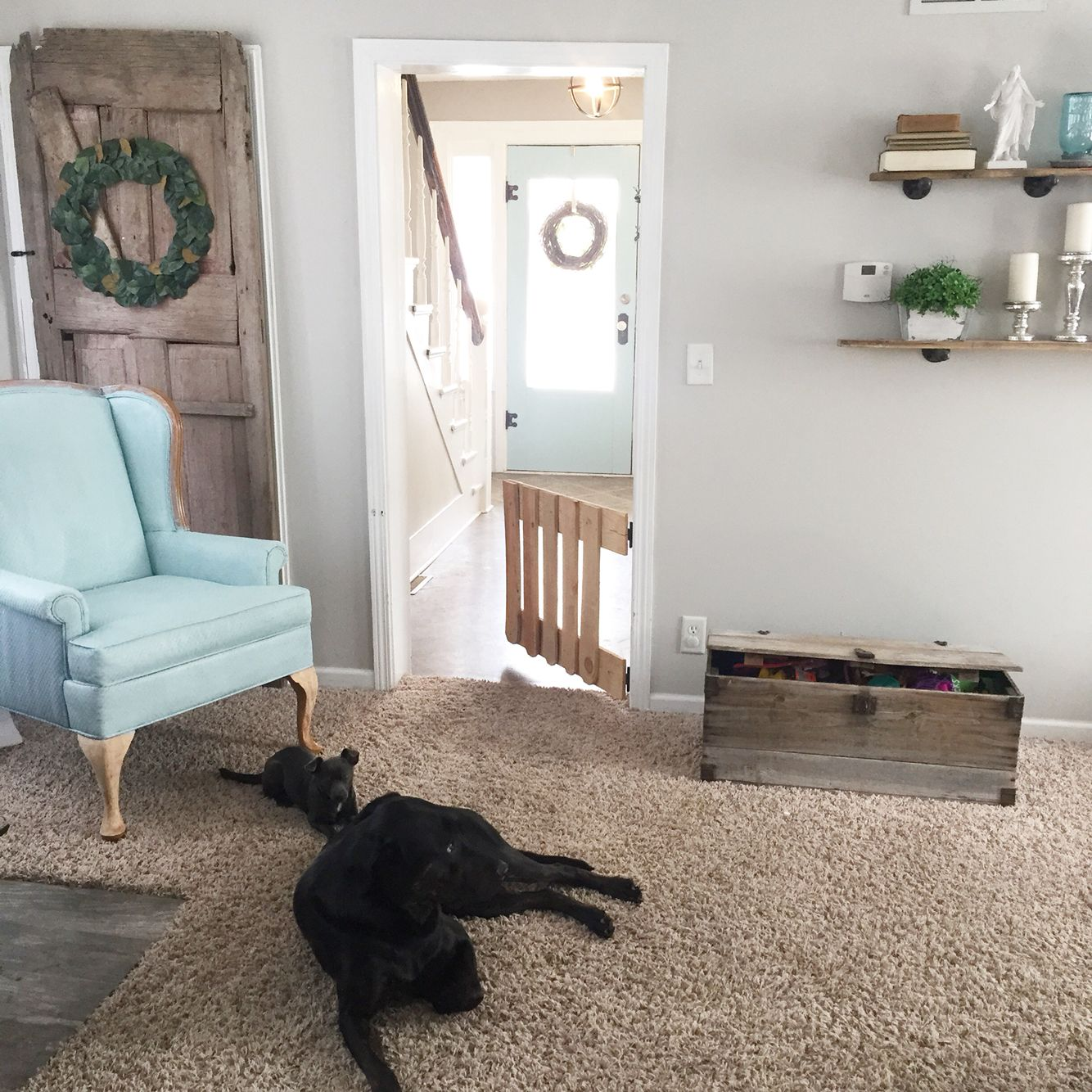 Farmhouse style DIY baby gate bArn door sherwin Williams repose gray ...