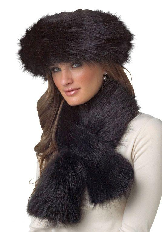 926bea844 Black Fox Faux Fur Pull-Through Scarf Headband Wrap, Halo Headband, Russian  Hat