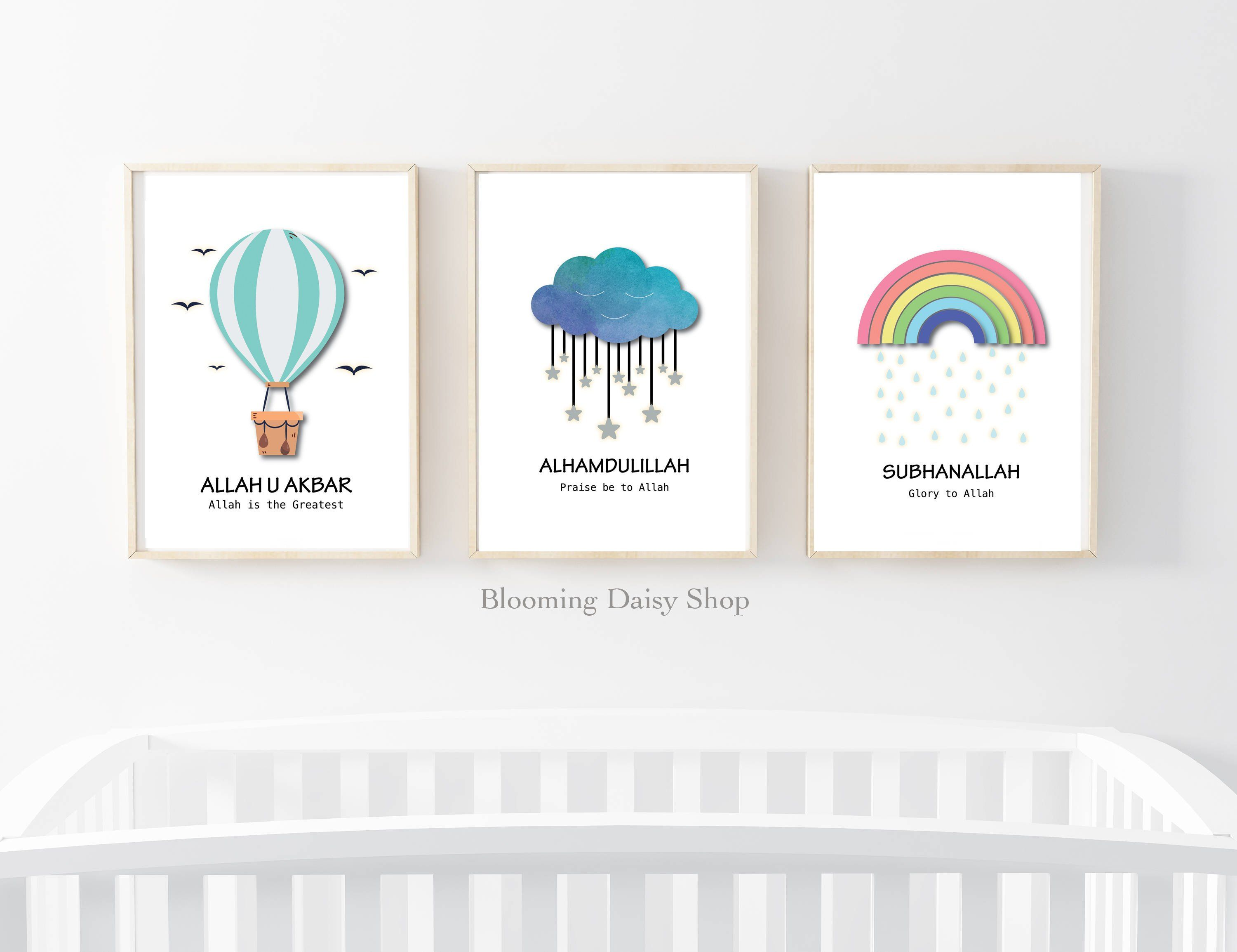 Decoration for Nursery Baby Room Pictures Baby Pictures Childrens Poster Set of 3 DIN A4 Posters for Nursery and Picture Frames