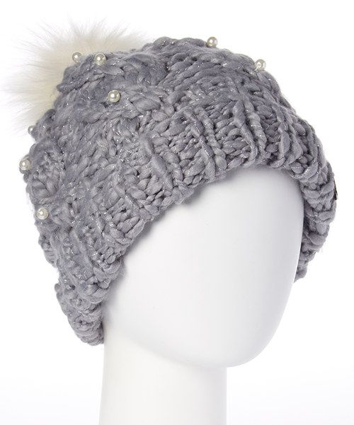 684443fc824479 Look at this Gray Pearly Girl Pom-Pom Beanie on #zulily today ...