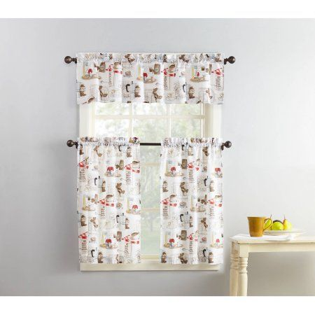 Mainstays Coffee Shop 3-Piece Kitchen Curtain and Valence Set ...