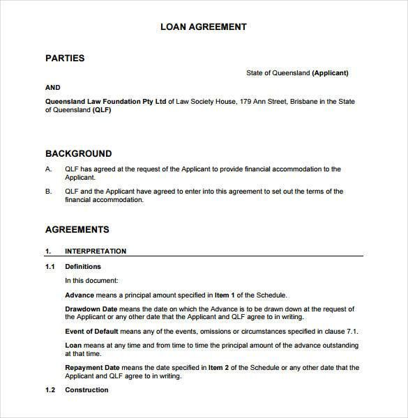 Sample Loan Agreement Contract Between Two Parties   Great Loan