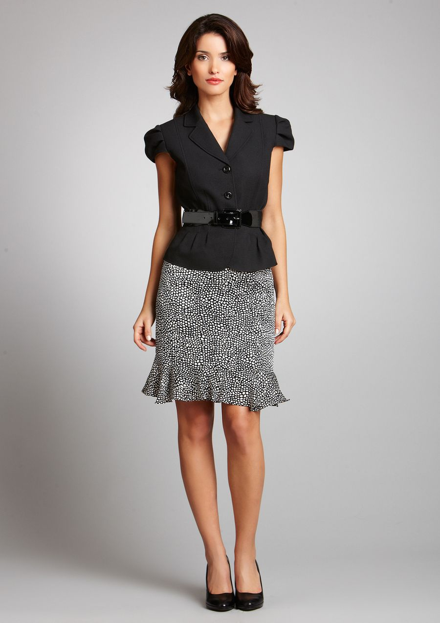 Short sleeve suit jacket and knee length skirt is a nice option ...
