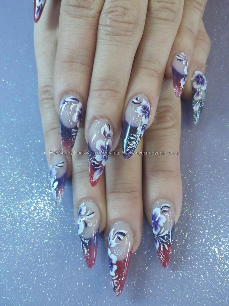 Sculptured Stilettos With One Stroke Flower Nail Art Nails