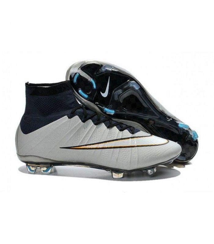Acheter Nouveau Chaussure de Football Nike Mercurial Superfly CR FG Argent  Blanc Hyper Turquoise Noir pas cher en ligne 114,00€ sur http://cramponsdefootdiscount.com