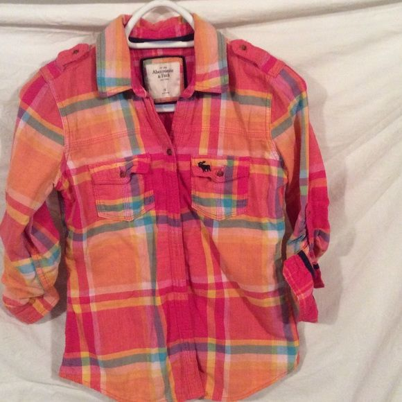 Abercrombie and Fitch Shirt Plaid quilted patches shirt with roll up sleeves Abercrombie & Fitch Tops