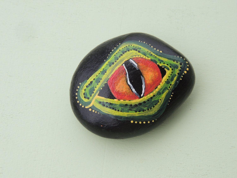 Beach Rock Painted as a Dragon Eye for Fairy Garden or Terrarium, Dragon for…