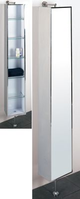 Dwell Rotating Mirrored Floor Cabinet Tall Cabinet Storage Small Bathroom Clever Storage