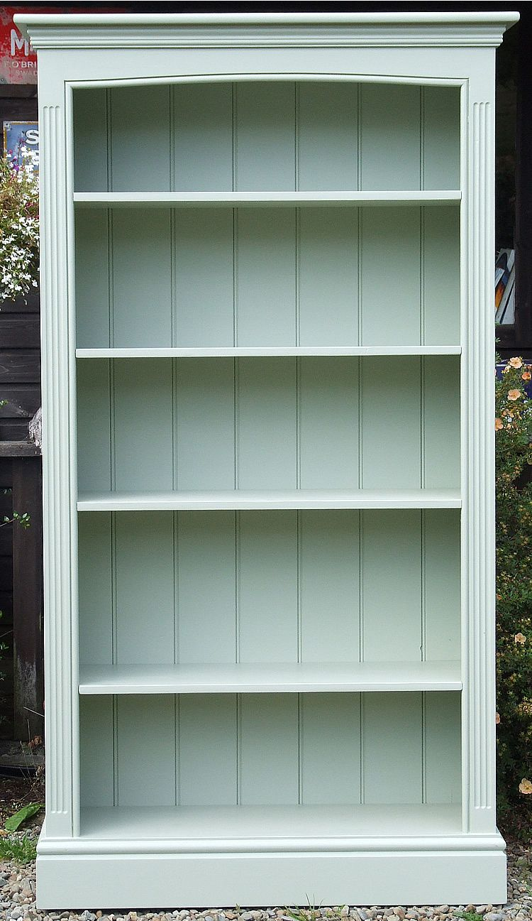Painted Freestanding Bookcase with fluted side pilasters and arched top.  Shown here painted in Farrow - Painted Bookshelves Antique Painted Bookcase - The Consortium