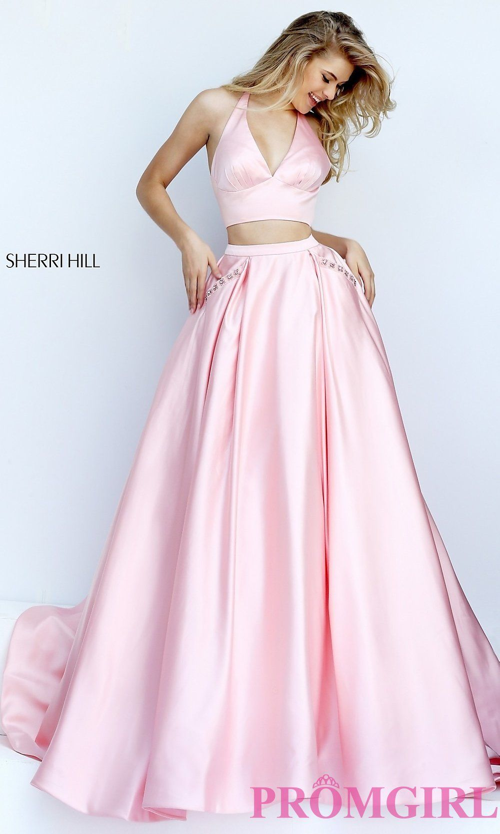 2016 Long Pink Two Piece Sherri Hill 50053 Prom Dress