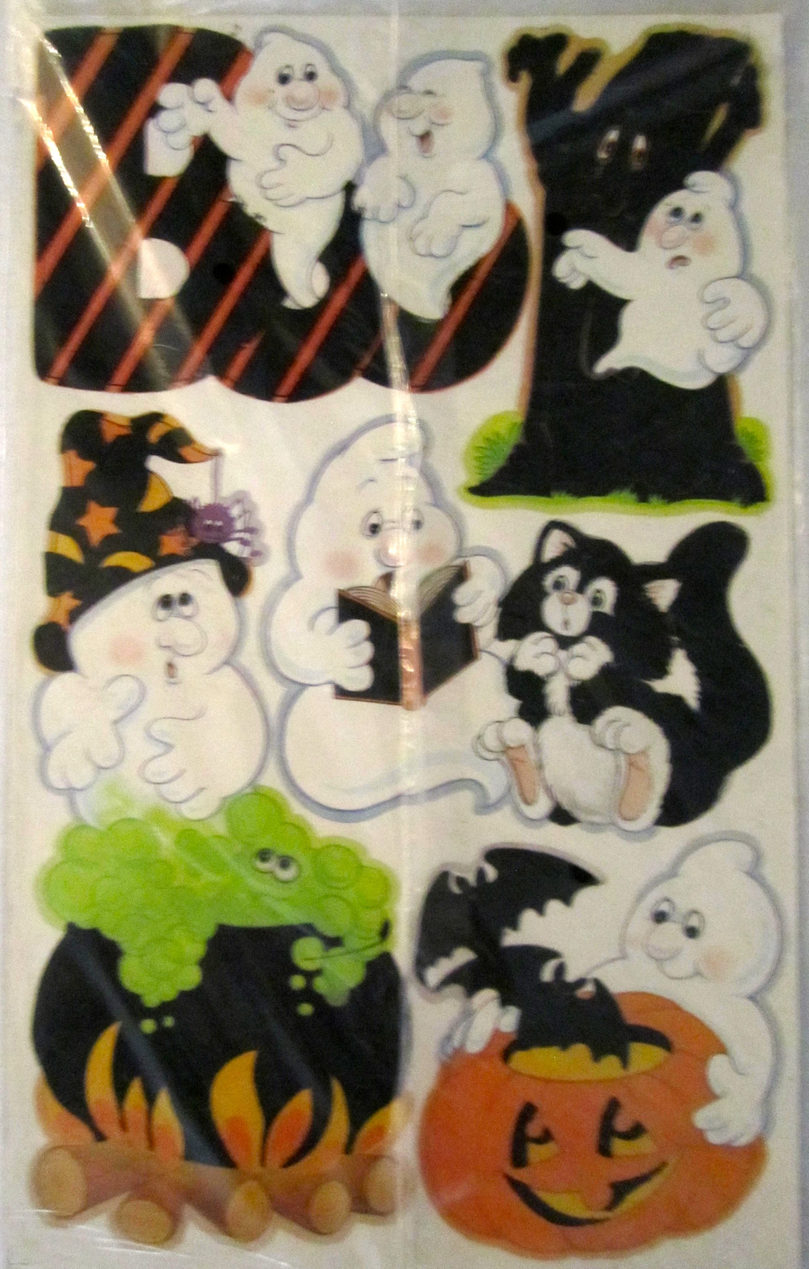 Part 2 Vintage Celo Velvety Flocked 13 Ghosts Press Outs From The Halloween DecorationsGhosts