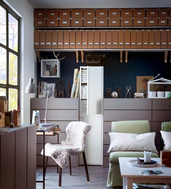 Ikea Modern Home Office like the use of the brown boxes to give an organic texture. | home
