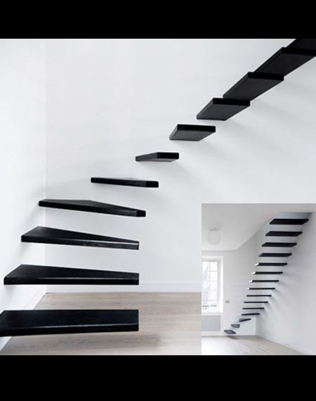 floating black stairs
