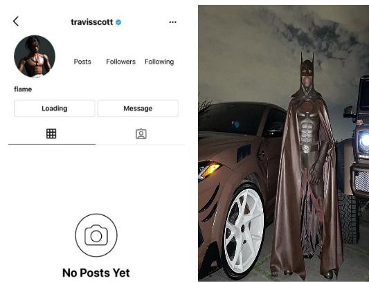 Fans Chase Travis Scott Off Instagram Over His Brown Batman Halloween Costume Theinfong Batman Halloween Costume Batman Halloween Halloween Costumes