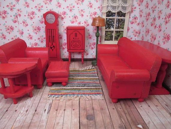 Strombecker Doll House Furniture - 8 Piece Red Living Room - 1 ...