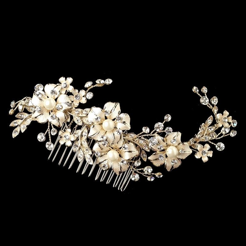 Bridal headpiece, Light Gold Wedding headpiece, Gold Bridal hair come, Crystal Wedding hair comb, Vintage Style hair comb, Hair accessory by TheExquisiteBride on Etsy https://www.etsy.com/listing/217575913/bridal-headpiece-light-gold-wedding
