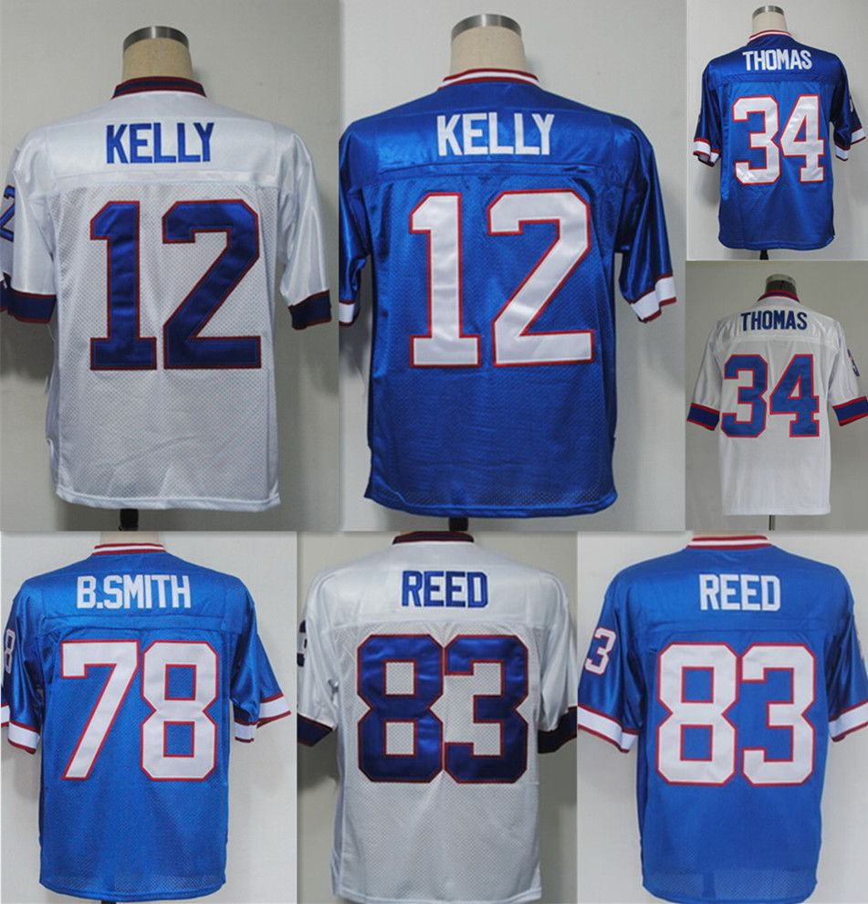 #12 Jim Kellys #34 Thurman Thomas #78 Bruce Smith #83 Andre Reed jersey throwback football jersey,blue white shirt,Top Quality  //Price: $US $24.88 & FREE Shipping //     #fans #play #playing #player #field #green #grass #score   #goal #action #kick #throw #pass #win #winning