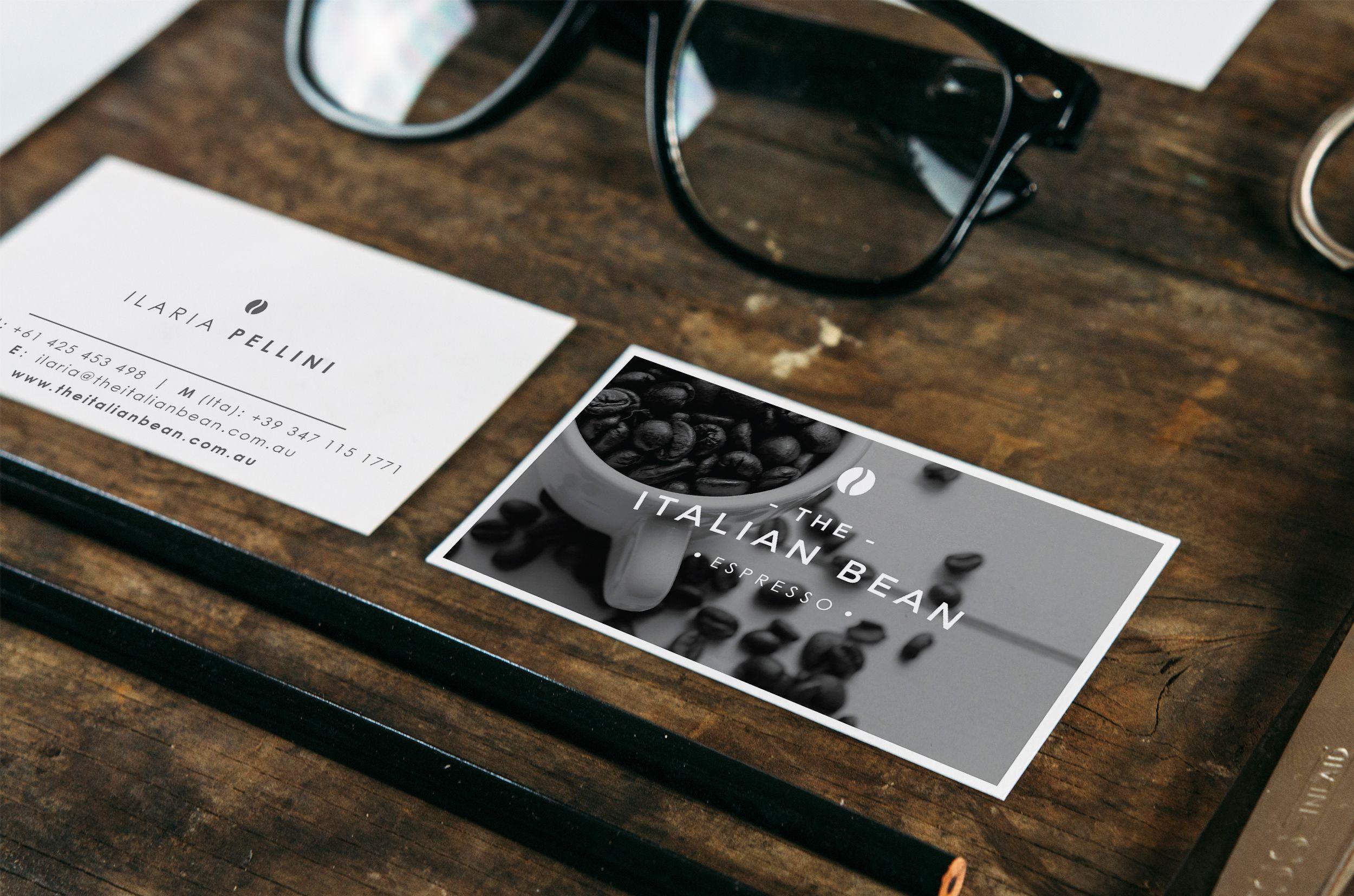 the italian bean business card wooden table