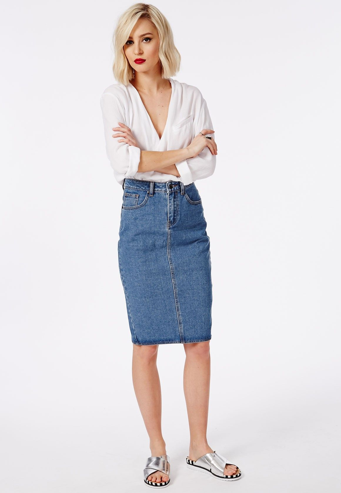 premium denim midi skirt blue missguided jean skirt and