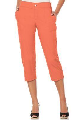 Rafaella Women's Petite Poplin Garment Wash Crop Pants - Coral Quartz - 10P